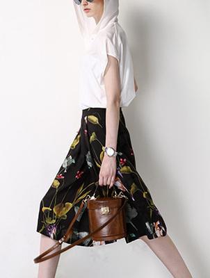 2015女装新品超舒适质感花纹裙子